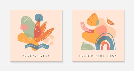 Set of creative universal artistic cards.Modern vector illustrations with hand drawn organic shapes and textures.Trendy contemporary design for prints,greetings,banners,brochures,invitations,covers.