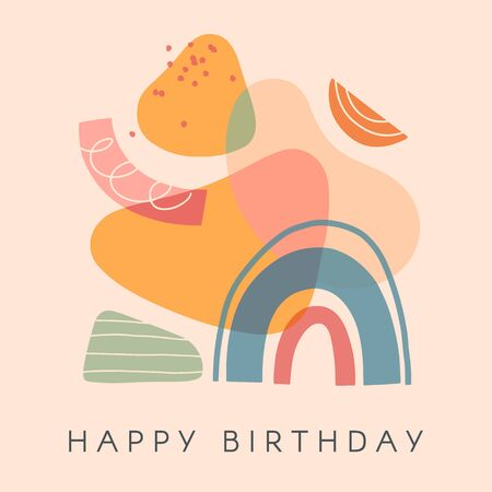 Creative universal artistic card - happy birthday.Modern vector illustration with hand drawn organic shapes and textures.Trendy contemporary design for prints,banners,brochures,invitations,covers.