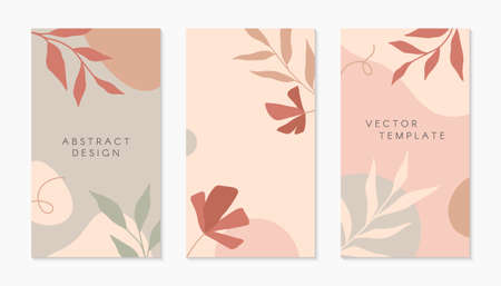 Bundle of editable insta story templates with copy space for text.Modern vector layouts with hand drawn organic shapes and textures.Trendy design for social media marketing, digital post, prints, banners