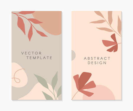 Set of editable insta story templates with copy space for text.Modern vector layouts with hand drawn organic shapes and florals.Trendy design for social media marketing, digital post, prints, banners.