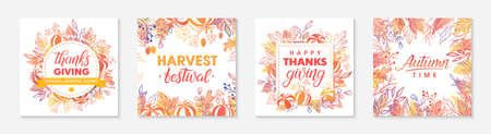 Autumn seasonals postes with leaves and floral elements in fall colors.Thanksgiving greetings and harvest fest posters perfect for prints, flyers, banners, invitations.Vector autumn illustrations