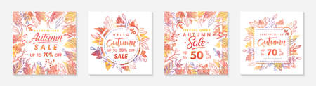 Bundle of autumn special offer banners with autumn leaves and floral elements in fall colors.Sale templates perfect for prints, flyers, banners, promotions.Business concept.Vector autumn promos. Ilustração