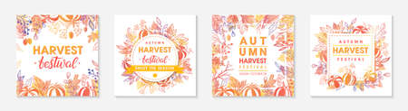 Autumn seasonals postes with leaves and floral elements in fall colors.Greetings and harvest fest posters perfect for prints, flyers, banners, invitations.Trendy fall designs.Vector autumn illustrations