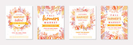 Set of autumn farmers market banners with leaves and floral elements. Ilustração