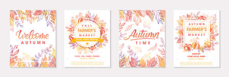 Autumn seasonals postes with leaves and floral elements in fall colors.