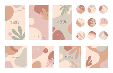 Bundle of editable story templates and highlights covers.layouts with hand drawn organic shapes and textures.Abstract backgrounds.Trendy design for social media marketing.Social media kit Ilustração
