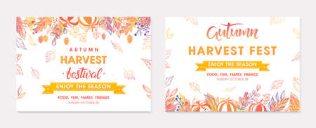 Autumn seasonals postes with leaves and floral elements in fall colors.Greetings and harvest fest banners perfect for prints, flyers, banners, invitations.Trendy fall designs.Vector autumn illustrations