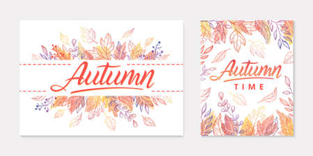 Autumn seasonals postes with leaves and floral elements in fall colors.Greetings banners perfect for prints, flyers, invitations.Trendy fall designs.autumn illustrations.