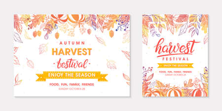 Autumn seasonals postes with leaves and floral elements in fall colors.Greetings and harvest fest banners perfect for prints, flyers, banners, invitations.Trendy fall designs.autumn illustrations