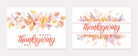 Thanksgiving postes with leaves and floral elements in fall colors. Greetings cards perfect for prints; flyers; banners; invitations.Trendy fall designs.Vector autumn illustrations
