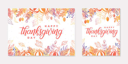 Thanksgiving postes with leaves and floral elements in fall colors. Greetings cards perfect for prints; flyers; banners; invitations.Trendy fall designs.autumn illustrations