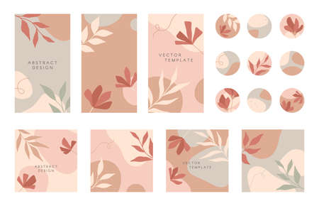 Bundle of editable insta story templates and highlights covers.Vector layouts with hand drawn organic shapes and textures.Abstract backgrounds.Trendy design for social media marketing.Social media kit Ilustração