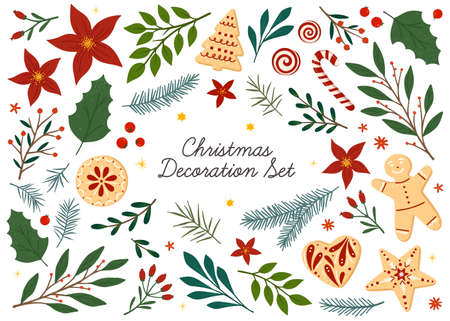Bundle of Christmas and Happy New Year floral design elements.Vector hand drawn plants, cookies and candies, tree branches, mistletoe and berries.Xmas decoration set.Winter traditional decor bundle.