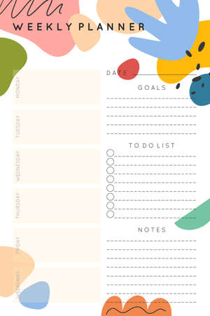 Vector weekly planner template with abstract hand drawn organic shapes and doodles.Organizer and schedule with place for notes, goals and to do list.Trendy childish style.Abstract modern design.