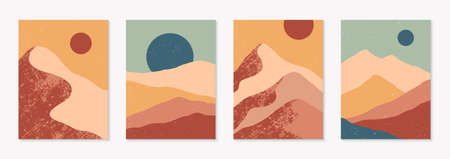 Set of creative abstract mountain landscape backgrounds. Mid century modern vector illustrations with mountains or desert dunes; sky, sun or moon. Trendy contemporary design.