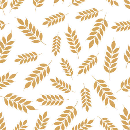 Vector seamless pattern with ears of wheat; whole grain, organic, for bakery package, bread products, wrapping paper, web design. White background. Vector Illustration
