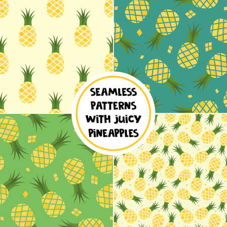 Set of vector seamless patterns with juicy pineapples. Fruit backgrounds for fabric, wallpaper, tablecloth, textile, package, web design.