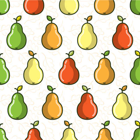 Vector seamless pattern with colorful pears; flat pear icons; fruity design for fabric, wallpaper, wrapping paper, package, textile, tablecloth, web design.