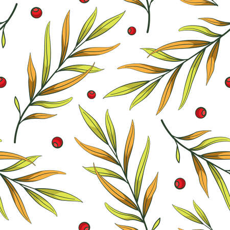 Floral seamless pattern with branches, leaves and berries. Vector simple floral design for fabric, wallpaper, textile, web design.