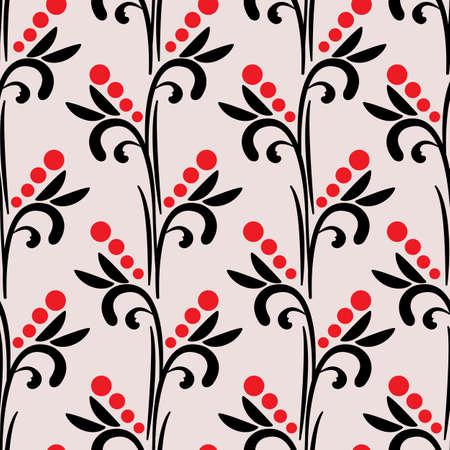 Vector seamless pattern with vertical branches. Abstract branches, leaves and berries. Design for fabrics, wallpapers, textiles, web design.