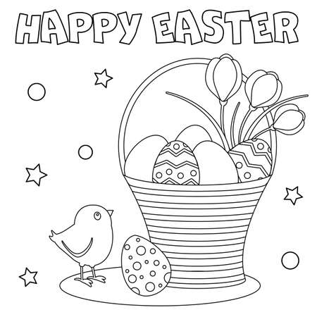 Coloring page. Happy Easter greeting card. Black and white vector illustration. Perfect for antistress book. Vector Illustration