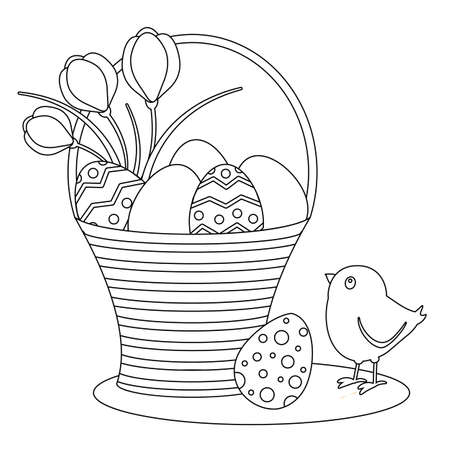 Coloring page. Cute chick, Easter eggs and flowers. Black and white vector illustration. Perfect for antistress books.