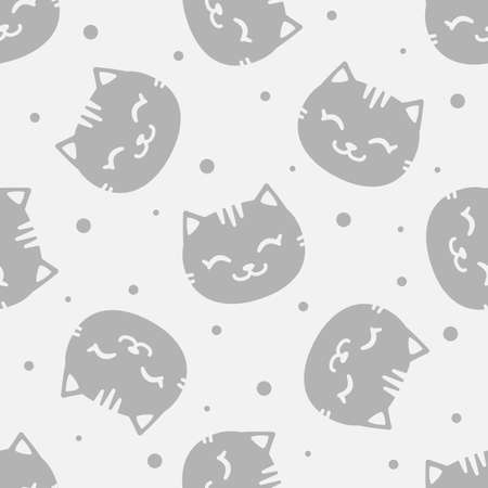 Vector seamless pattern with cute gray cats; funny design for fabric, wallpaper, package, textile, web design.