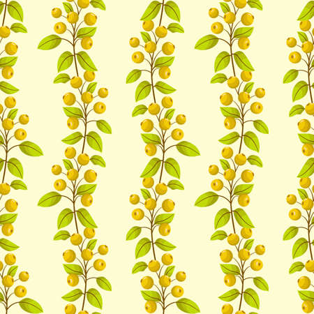 Vector seamless pattern with vertical yellow rowanberry twigs; natural design for fabric, wallpaper, wrapping paper, packaging, textile, web design.