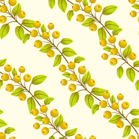 Vector seamless pattern with diagonal rowanberry twigs; natural berry design for fabric, wallpaper, wrapping paper, textile, web design.