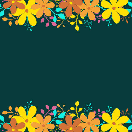 Vector background with orange and yellow flowers on blue background; for greeting cards, invitations, posters, banners. Ilustração