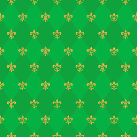 Mardi Gras seamless pattern with Fleur De Lis; green rhombuses; holiday background for greeting cards, invitations, posters, banners.