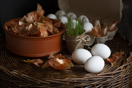 Eggs on a white background. Stock Photo