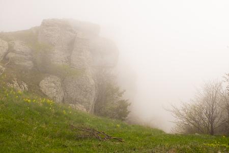 Mist in the mountains. Demergy mountain near Alushta, Crimea.
