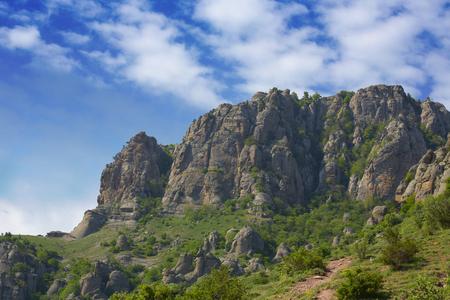 Demergy mountain and The Ghoast valley in a bright sunny day in spring near Alushta, Crimea.