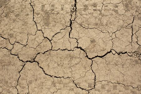 Cracked earth on country road with traces of tires. Texture background of dry cracked earth. Stock Photo