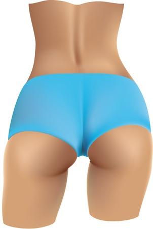 Красивая женщина обратно в синем бикини