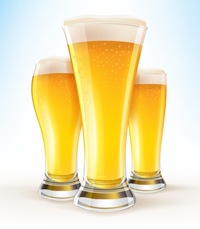 Реалистичные бокалов пива крупным планом