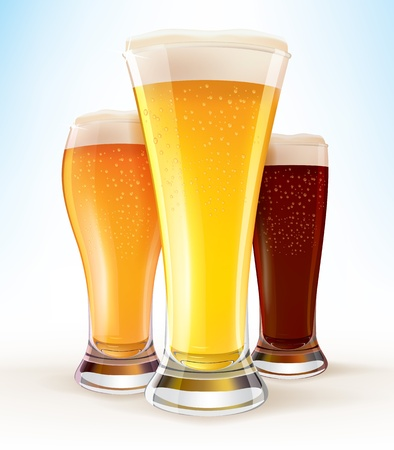 Realistic Glasses of Beer close-up Illustration