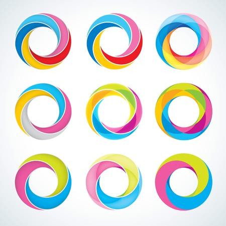 Набор абстрактном Бесконечный цикл шаблон логотипа Корпоративные значки