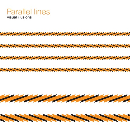 Optical illusion, parallel colorful lines