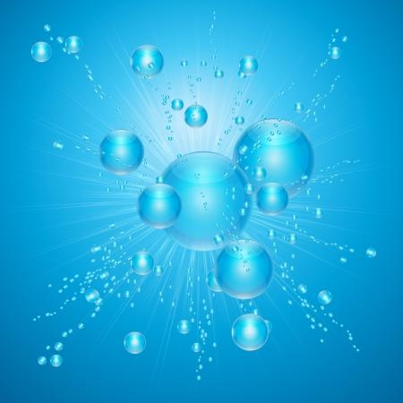vapore acqueo: Bolle di aria in acqua blu, Aumentando dal profondo