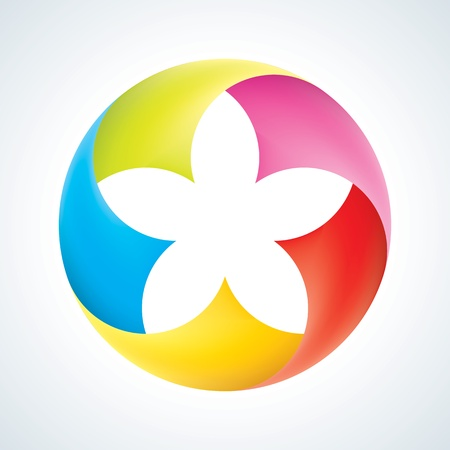 globe arrow: Abstract flower logo template. Corporate icon