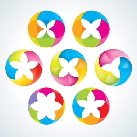 Абстрактные цветочные знаки Корпоративные иконы EPS10 Иллюстрация