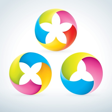 Abstract flower signs Set  Corporate icons  EPS10 Illustration