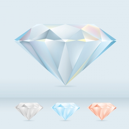 diamond clip art: Set of Shiny Diamond Jewels Illustration