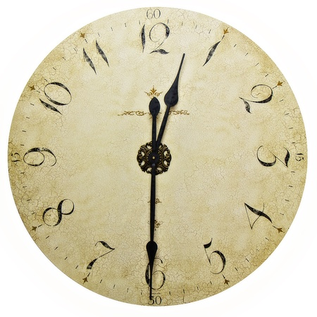 analog clock: Old antique wall clock isolated on white Stock Photo