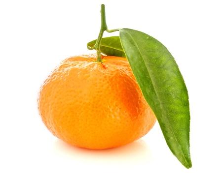 Fresh orange mandarin with leafs on a white background
