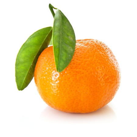 Fresh orange mandarin with leafs on a white background photo