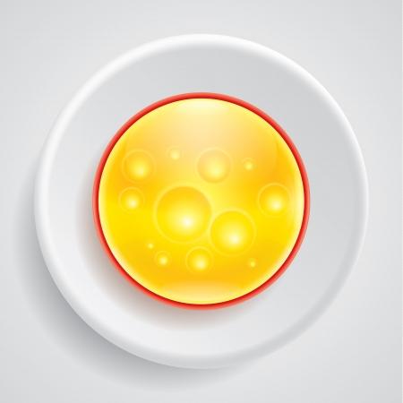 Вектор сыр круг в значком пластины Иллюстрация
