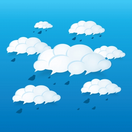 Abstract speech bubbles in the shape of clouds used in a social networks on blue sky background